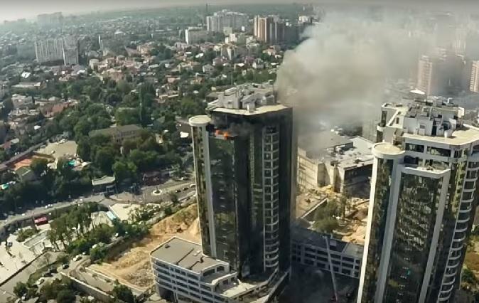 Пожар в Одессе – видео с высоты птичьего полета