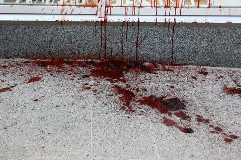 Магазин Roshen во Львове облили свиной кровью