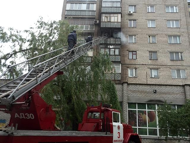 В Николаеве горел балкон в девятиэтажке на ул.Карпенко