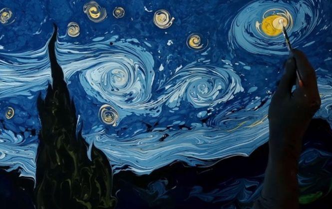 Диво дивное – живопись на воде. Художник перерисовал картину Ван Гога