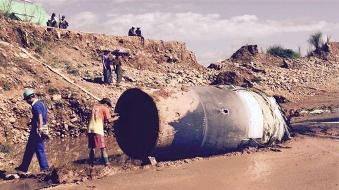 В Мьянме упал с неба большой неопознанный металлический объект