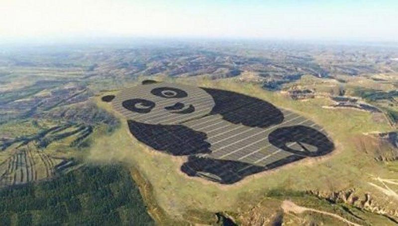 Теперь и с самолета определишься, что это – Китай: построена первая в мире солнечная электростанция в форме гигантской панды