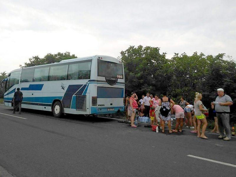 В Николаевской области сломался белорусский автобус. 17 часов люди провели под солнцем. Помогли спасатели
