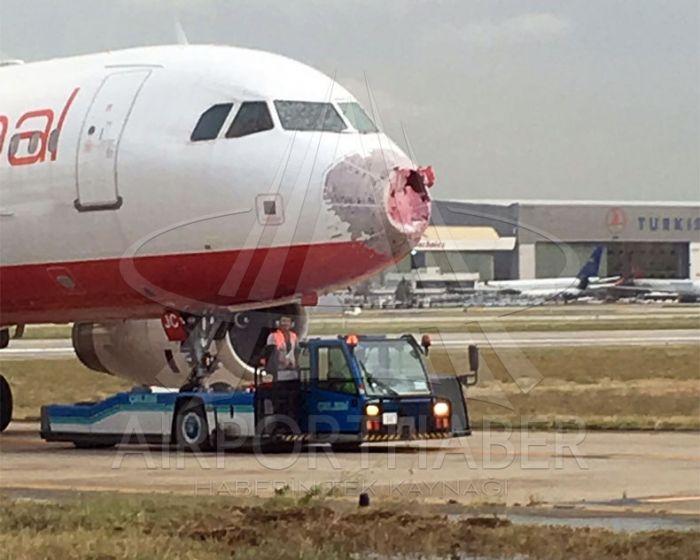 Украинский самолет с Стамбуле побило градом величиной с грецкий орех
