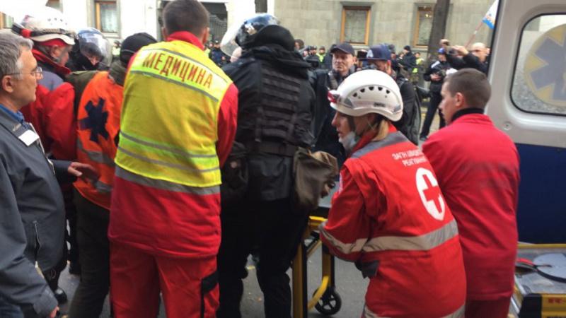 Митингующих вКиеве попросили вернуть отобранные унацгвардейцев щиты