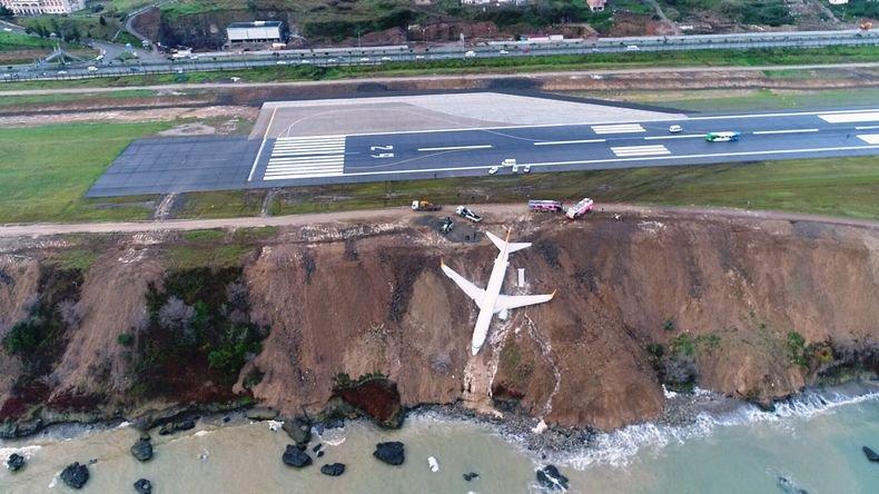 В Турции пассажирский самолет выкатился со взлетной полосы и чуть не упал в море