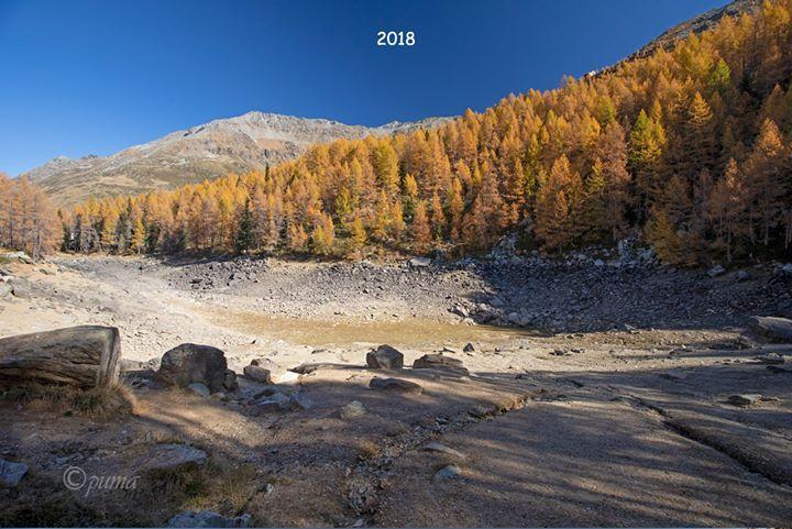 В итальянских Альпах высохло Голубое озеро