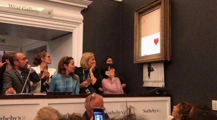 Как это – увидеть уничтожение $1,4 млн? Картина Бэнкси, проданная на аукционе, «покончила жизнь самоубийством»
