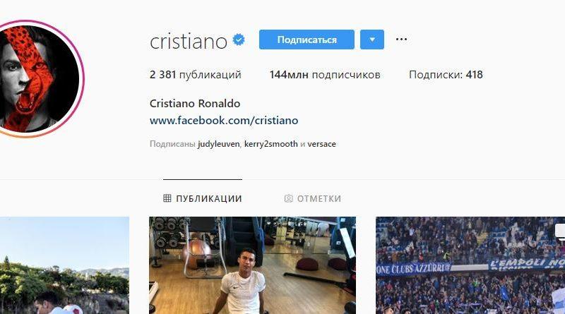 Криштиану Роналду стал лидером Instagram по числу подписчиков
