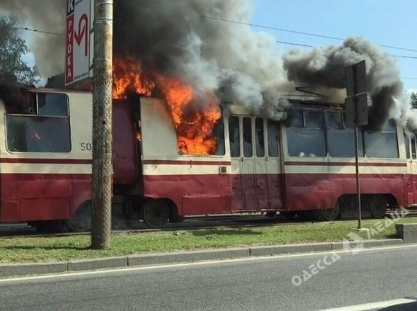 В Одессе загорелся трамвай