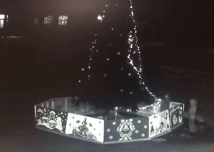 Снова новогодние вандалы. На этот раз они похитили гирлянду с главной елки в городе Арбузинка