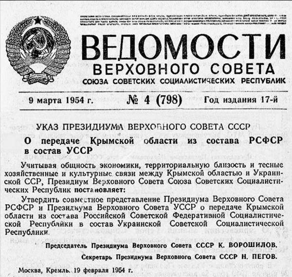 В этот день 65 лет назад Крым перешел из РСФСР в состав УССР