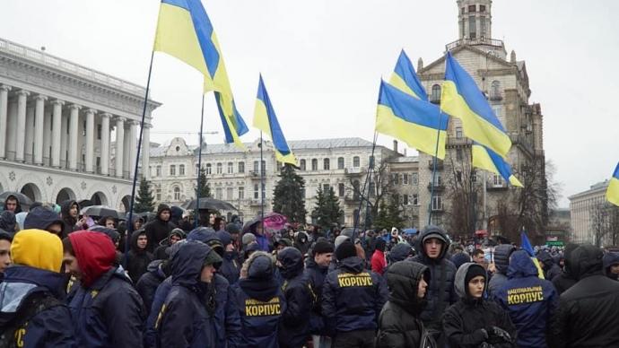 """""""Нацкорпус"""" отправился под АП, правительственный квартал перекрыт полицией"""