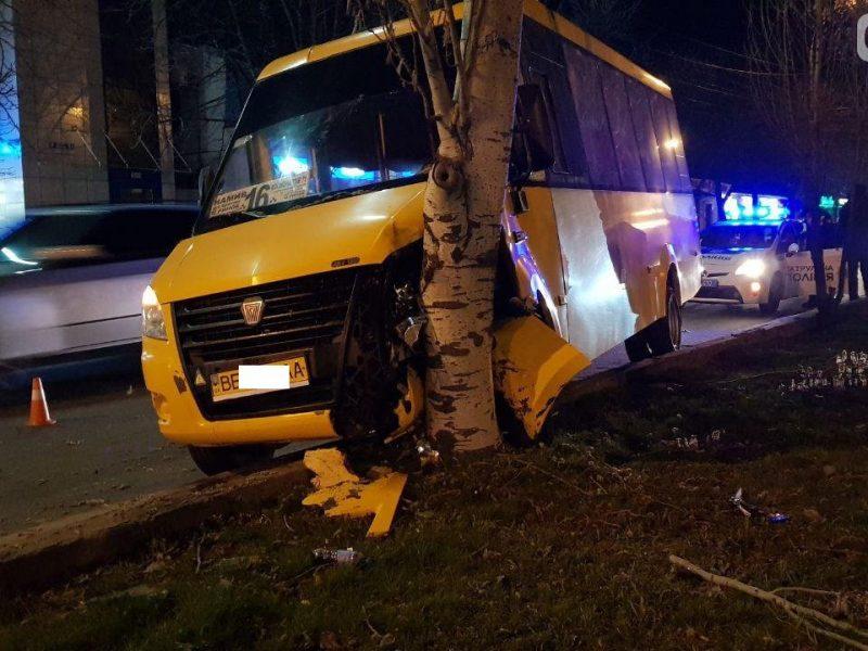 В Николаеве маршрутка врезалась в дерево – водителю стало плохо. Есть пострадавшие