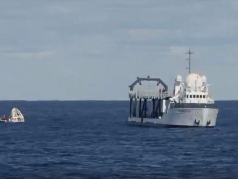 Космический корабль Crew Dragon приводнился в Атлантическом океане