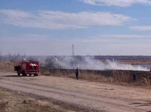На Намыве гасят пожар камыша на значительной территории