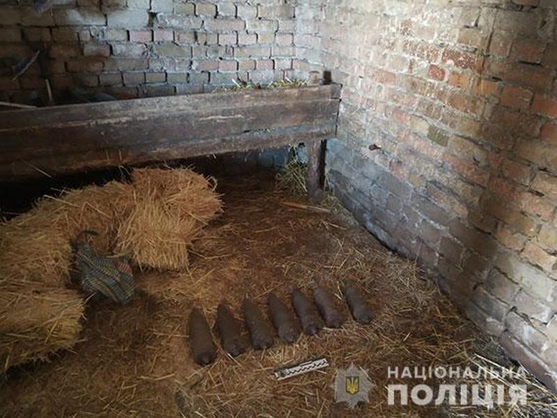 На Николаевщине мужчина спрятал старые немецкие артснаряды в гараже под соломой