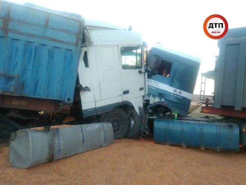 В Николаевской области два грузовика столкнулись из-за ямы на дороге