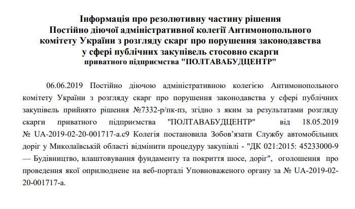 """Бетонной дороги на Н-14 Николаев-Кропивницкий в этом году не будет: АМКУ удовлетворил """"Полтавабудцентр"""" 1"""