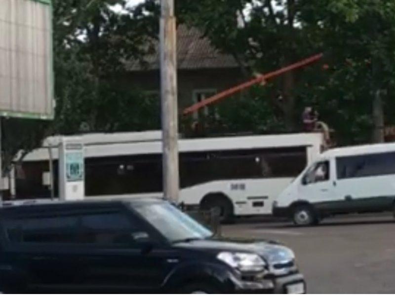 В Николаеве подросток, рискуя жизнью, проехался на крыше троллейбуса (ВИДЕО)