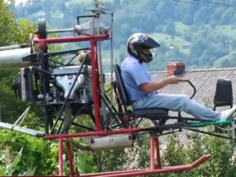 На Закарпатье сельский голова летает на самодельном «гуцульском» вертолете (ВИДЕО)