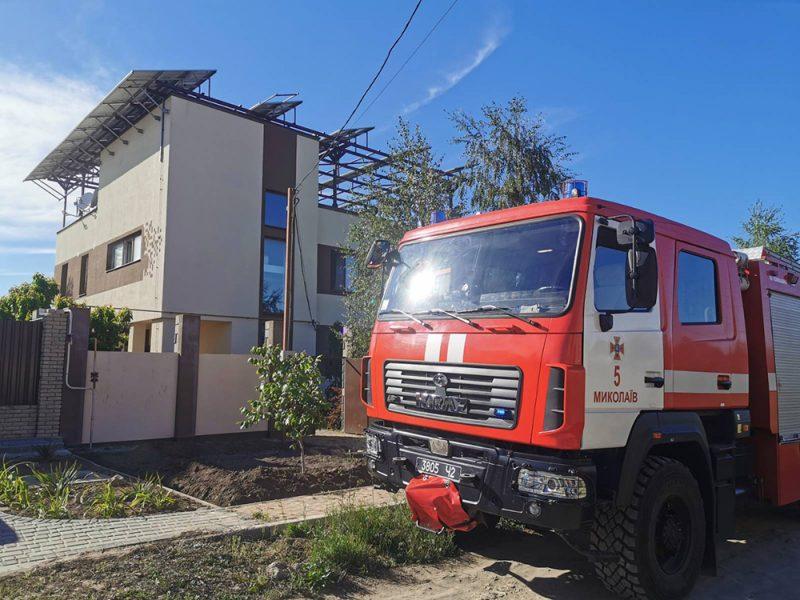 В Николаеве на частном доме горело оборудование солнечных батарей (ФОТО)