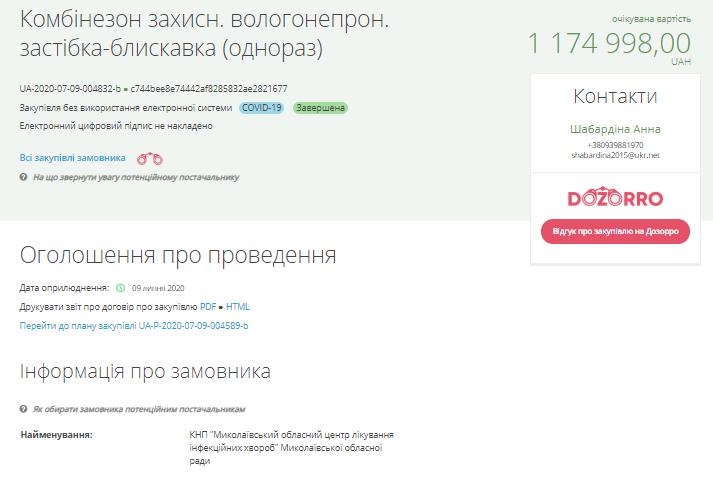 """По какой же цене Николаевская """"инфекционка"""" купила 500 одноразовых костюмов биозащиты? 1"""