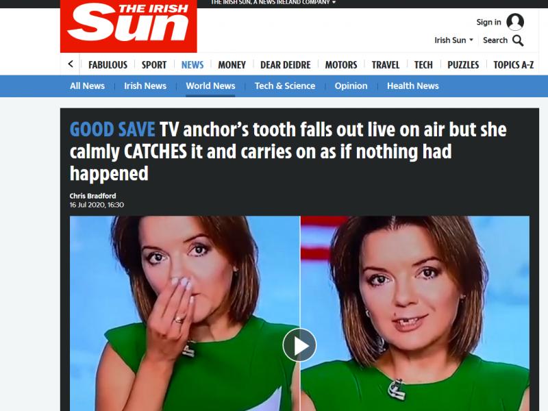 """Ведущая новостей """"1+1"""" стала мировой знаменитостью, потеряв зуб во время прямого эфира (ФОТО, ВИДЕО)"""