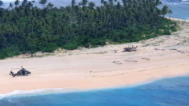Надпись SOS на песке спасла 3 моряков на необитаемом острове (ВИДЕО)