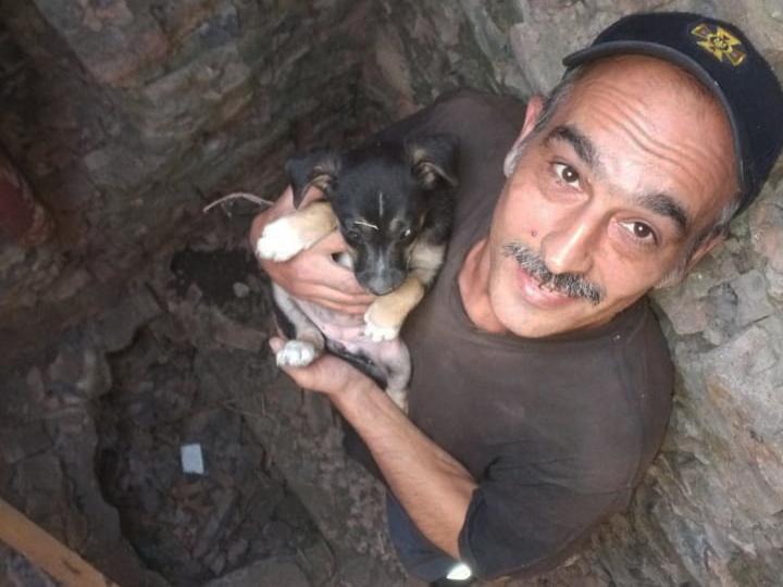 Николаевские спасатели спасли щенка - вытащили из колодца (ФОТО) 3