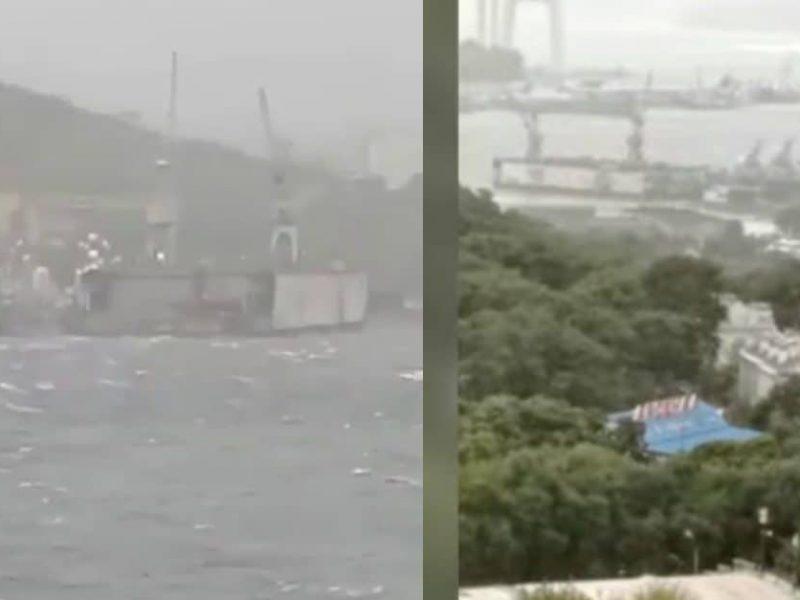 Во Владивостоке оторвало плавучий док и бросило на боевые корабли РФ (ВИДЕО)
