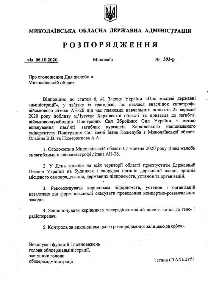 Сегодня в Николаевской области – День траура (ДОКУМЕНТ) 1