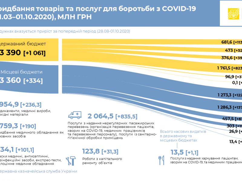 Украина потратила 6,75 млрд грн на закупку товаров и услуг для предотвращения коронавируса