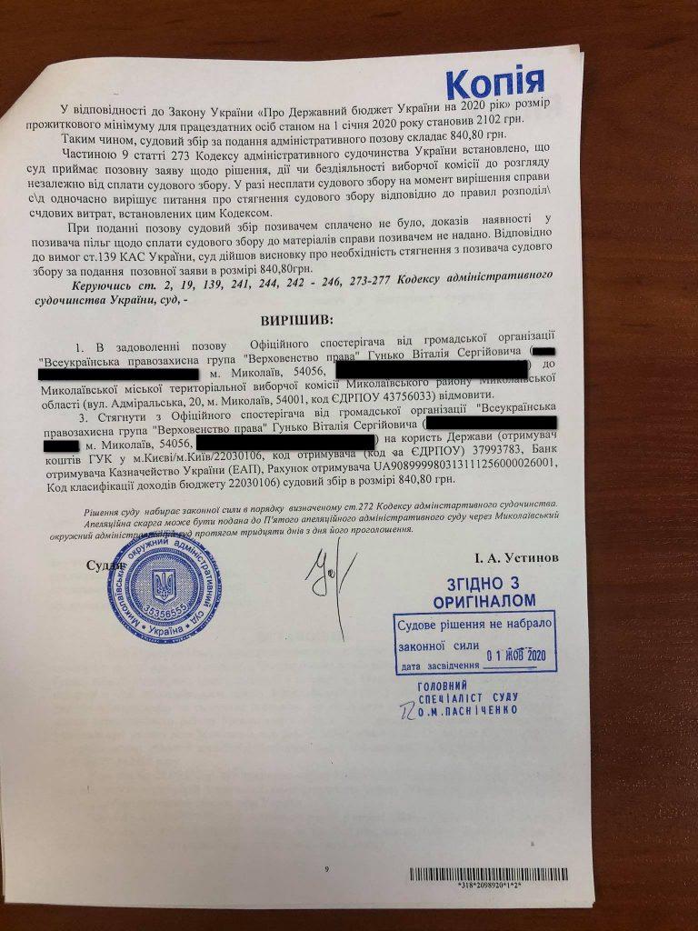 Регистрация кандидатов от партии «Николаевцы» в Николаевский горсовет остается в силе: суд отказал в удовлетворении иска (ДОКУМЕНТ) 17