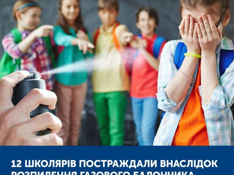 В Украине 12 школьников пострадали в результате распыления газового баллончика, из них 7 – на Николаевщине