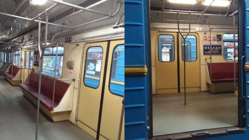 В Киевском метро ездит тестовый вагон с вертикальными поручнями (ФОТО)
