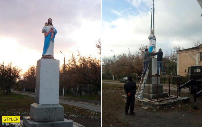 """Под Запорожьем на постаменте """"декоммунизированного"""" Ленина поставили Иисуса"""