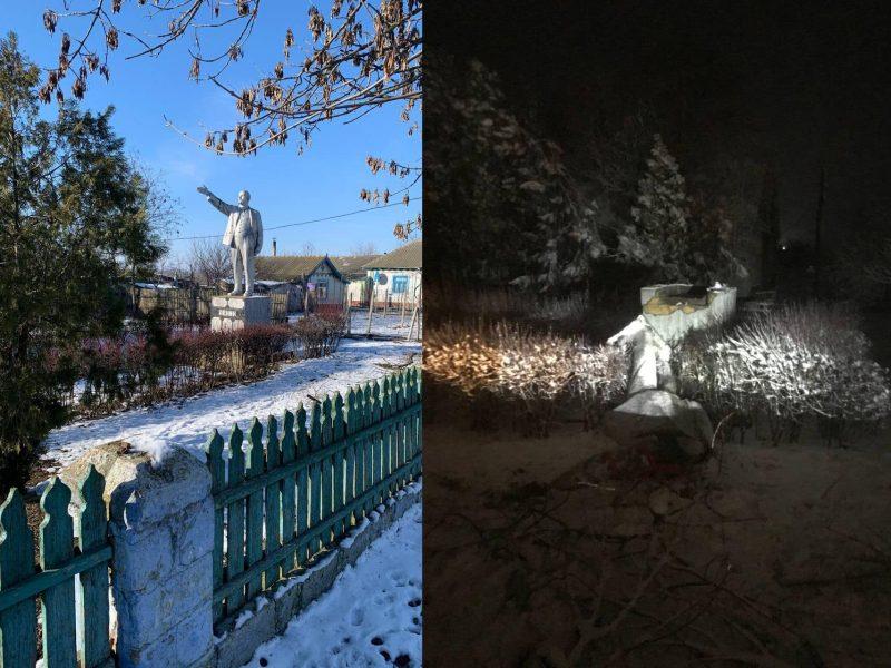 Последний в Украине памятник Ленину снесли (ФОТО, ВИДЕО)