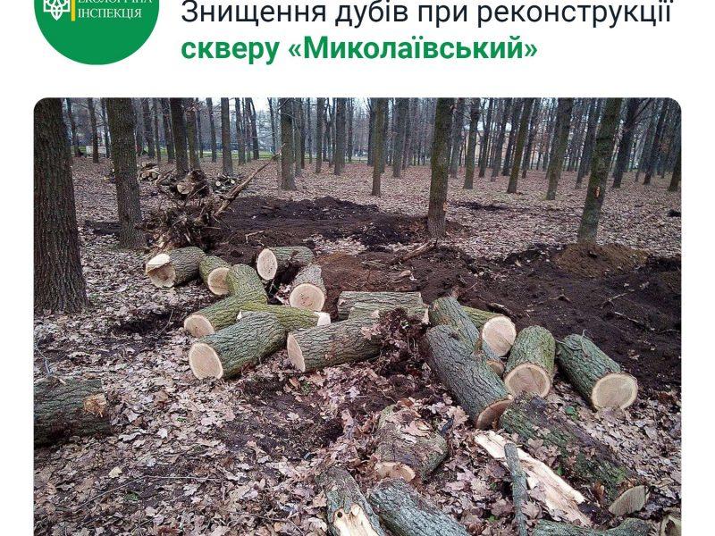 25,6 тыс. грн. — размер вреда, причиненного уничтожением дубов в сквере «Николаевский». ГЭИ обратилась в полицию