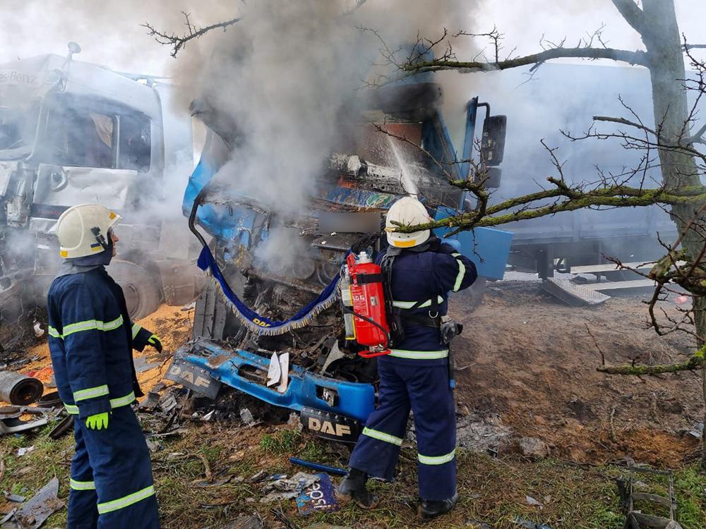 ДТП под Николаевом: в результате лобового столкновения двух фур одна из них загорелась (ФОТО) 13