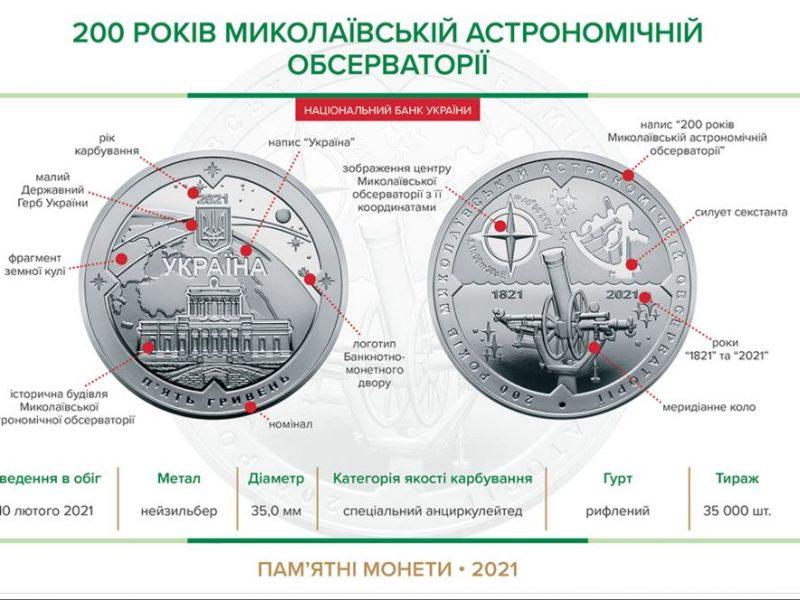Памятная монета в честь 200-летия Николаевской обсерватории поступит в обращение 10 февраля (ФОТО)