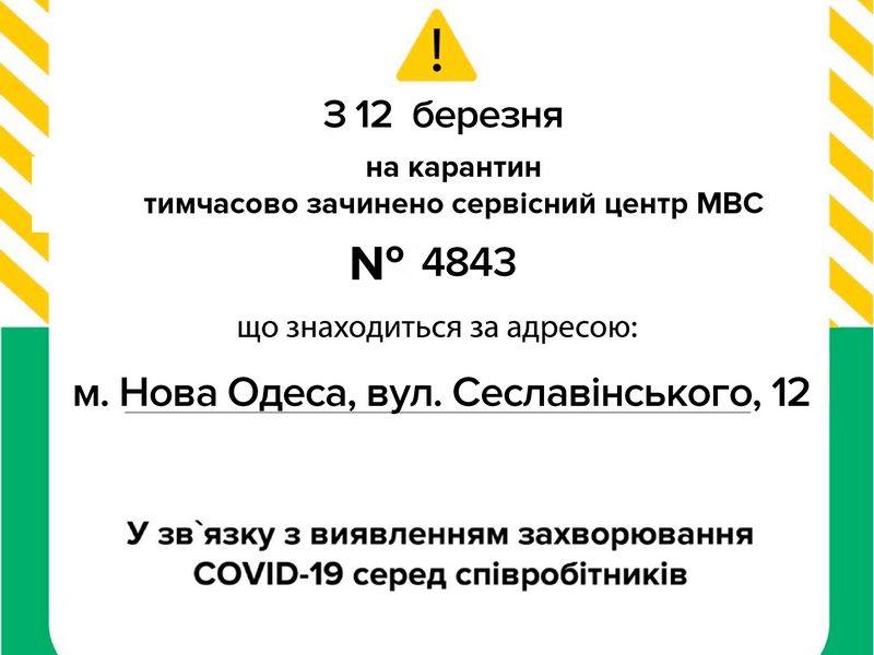 С 12 марта сервисный центр МВД в Новой Одессе временно закрыт