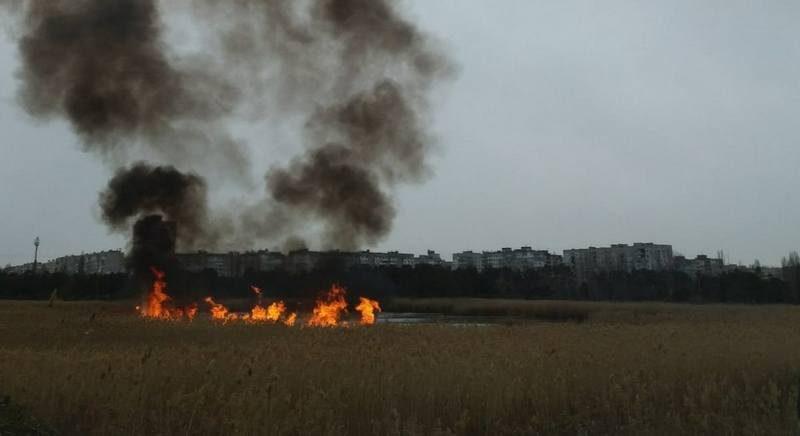 Опять поджоги: несколько раз тушили камыш на озере в парке «Лески» в Николаеве (ФОТО)