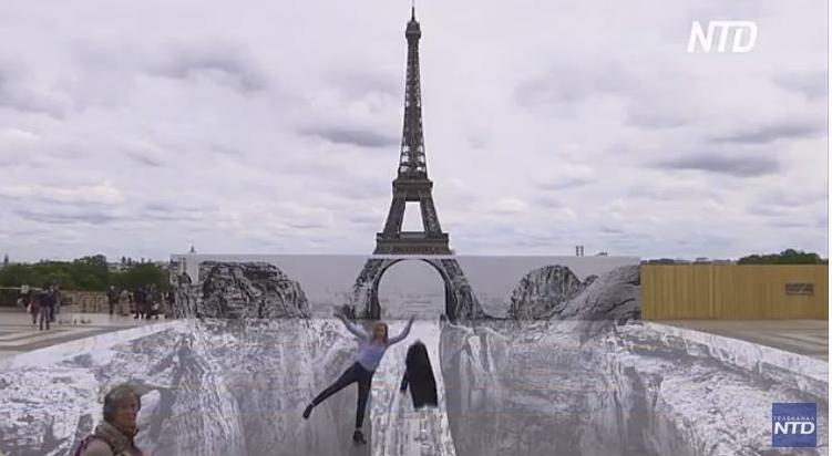 Оптическая иллюзия: Эйфелева башня теперь стоит на двух скалах (ВИДЕО)