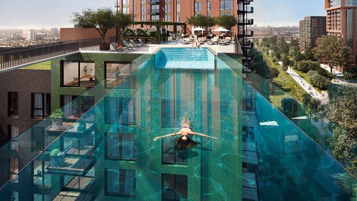 В Лондоне открыли уникальный подвесной бассейн – между небоскребами (ФОТО, ВИДЕО)