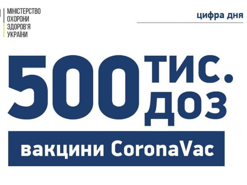Украина получила еще полмиллиона вакцин