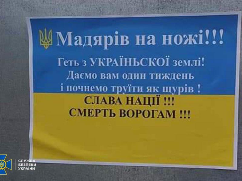 Оплата в рублях, текст с ошибками. Расклейщиками антивенгерских листовок в Берегово оказались переселенцы из Луганска (ФОТО)