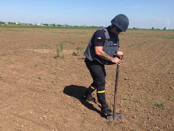 Пиротехники Николаевщины уничтожили найденную в поле старую минометную мину (ФОТО) 1