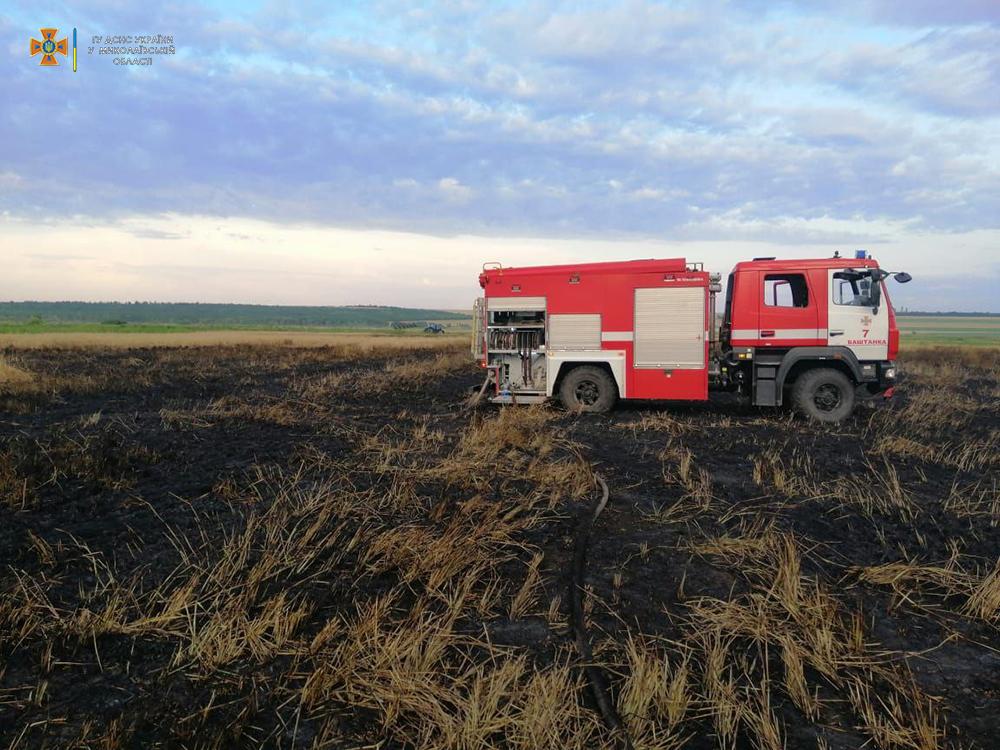 На Николаевщине выгорело 7 га зерновых – спасатели подозревают поджог (ФОТО) 1