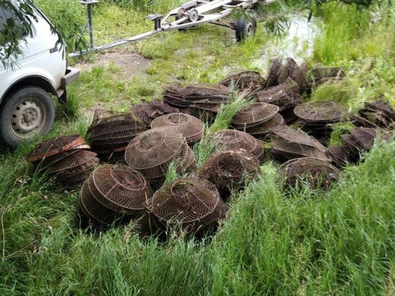 Николаевский рыбоохранный патруль изъял из Южного Буга 350 браконьерских раколовок (ФОТО, ВИДЕО)